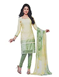Your Choice Women's Cotton Light Yellow And Green Semi-Stitched Salwar Suit Dress Material With Dupatta