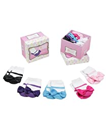 RuffleButts® Infant / Toddler Girls Princess Socks w/ Bow Gift Set - Multi-Color - 12-24m