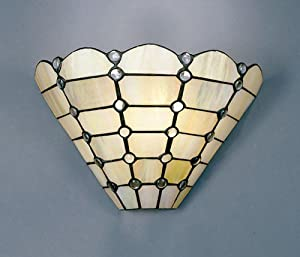 Dale Tiffany 7411/1LTW Beige Geometric Wall Sconce Light, Art ...