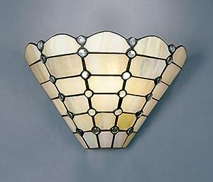 Dale Tiffany 7411/1LTW Beige Geometric Wall Sconce Light, Art