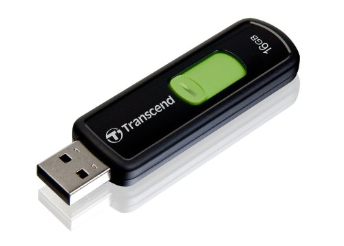 Transcend 16 GB JetFlash 500 Retractable USB Flash Drive - TS16GJF500E (Black)