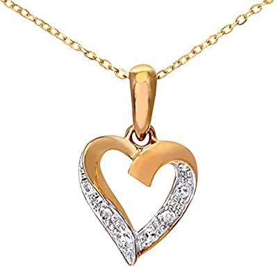Ariel 9ct Diamond Heart Pendant and Chain of 46cm