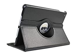 TGK 360 Degree Rotating Leather Smart Stand Case Cover For iPad Air/iPad 5/New 5th - black