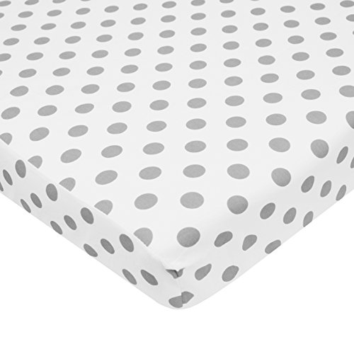 TL Care 100% Cotton Percale Fitted Mini Crib Sheet, White with Gray Dot (Mini Crib Fitted Sheet compare prices)