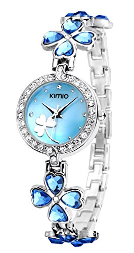 Ostan Women's Fashion Heart Crystals Flower Round-shaped Dial with Cubic Zirconia Bracelet Wrist Watches