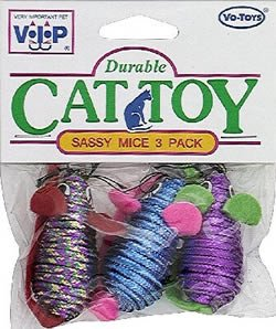 Vo-Toys Sassy Mice 2in 3 pack Cat Toy