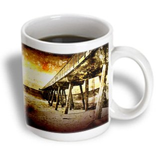 Perkins Designs Cities And Structures - Pacific Pier Grunge Photograph Of Hermosa Beach, California Pier On Pacific Ocean - 11Oz Mug (Mug_19247_1)