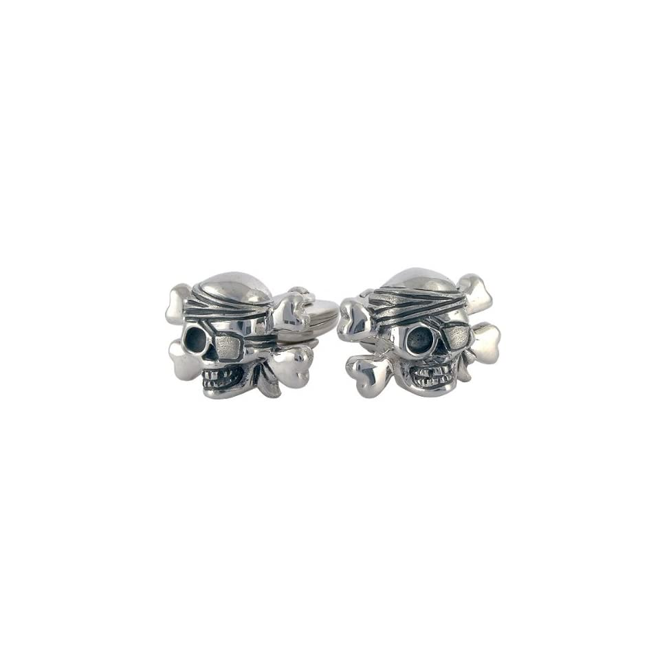 Skull Crossbones One Eyed Pirate Cufflinks Sterling Silver handcrafted