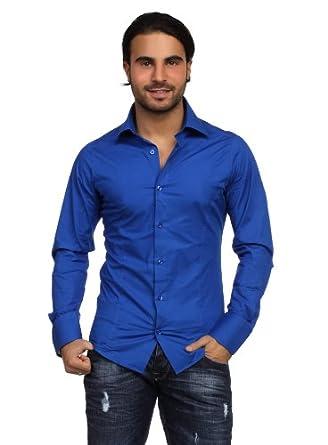 Redbridge Classic Chemise de travail Col chemise Manches longues Homme - Bleu - Bleu - FR : X-Small (Taille fabricant : 54)