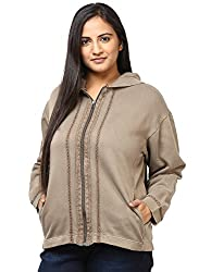 GRAIN Brown Color Regular fit Cotton Full Sleeve Jackets for Women