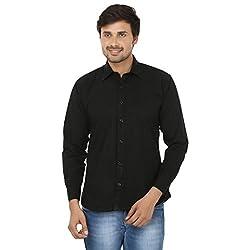FOCIL Black Cotton Blend Casual Shirt For Men