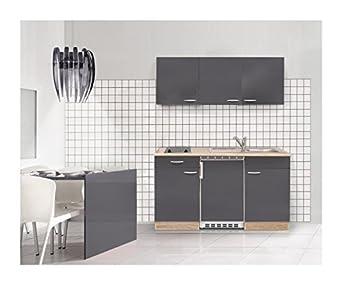 Mebasa MEBAKB1500GAC Einbaukuche, hochwertige Kuchenzeile inkl. Einbaugeräte, moderner komplett Kuchenblock 150 cm, in Sonoma Eiche / Grau Hochglanz