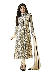 Cream and Beige Coloured Georgette Embroidered Partywear Salwar Suit