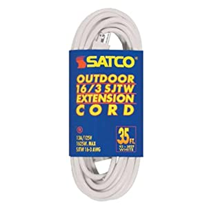 satco 35 ft white outdoor extension cord 16 3 awg 93 5027 industrial scientific. Black Bedroom Furniture Sets. Home Design Ideas