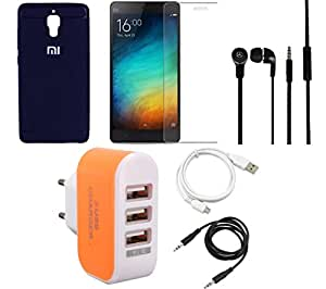 NIROSHA Tempered Glass Screen Guard Cover Case Headphone USB Cable Charger for Xiaomi Mi4 - Combo