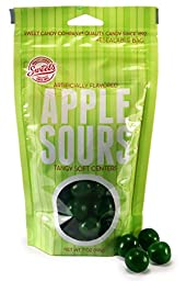 Sweet\'s Green Apple Sours With Tangy Soft Centers - 7 oz Zippered Pouch - Sour Apple Balls - USA Made Candy Since 1892