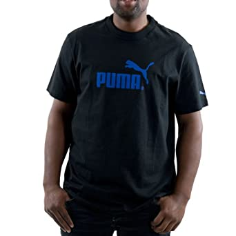 PUMA Men's No. 1 Logo Tee, Black/Nautical Blue, XX/Large