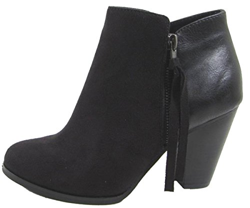 Soda Women's Ages Tassel Zip Chunky Heel Bootie (9 B(M) US, Black) (Soda Suede Boots compare prices)