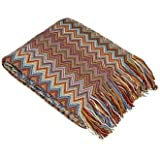 Bedford Cottage Marrakesh Sweater Knit Chevron Throw 50 By 80-Inch Terracotta