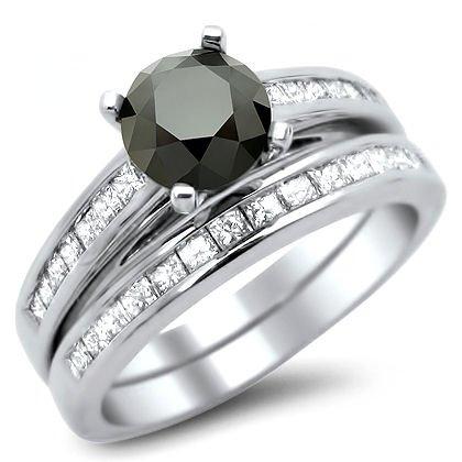 1.90Ct Black Round Diamond Engagement Ring Wedding Set 14K White Gold