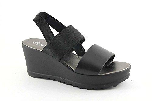 PREGUNTA IG9417 nero scarpe donna sandali pelle elastico zeppa 39