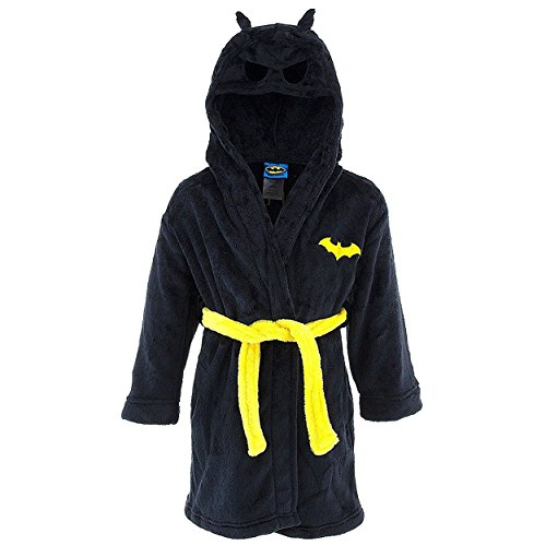 DC Comics Big Boys' Toddler Batman Hooded Robe, Black, Large (10/12)