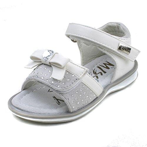 MS734 Miss Sixty Girls Adjustable Straps Sandal with Diamontes in White Taglia 21