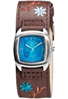 Kahuna Women's Quartz Watch with Blue Dial Analogue Display and Brown Cuff AKLS-0225L