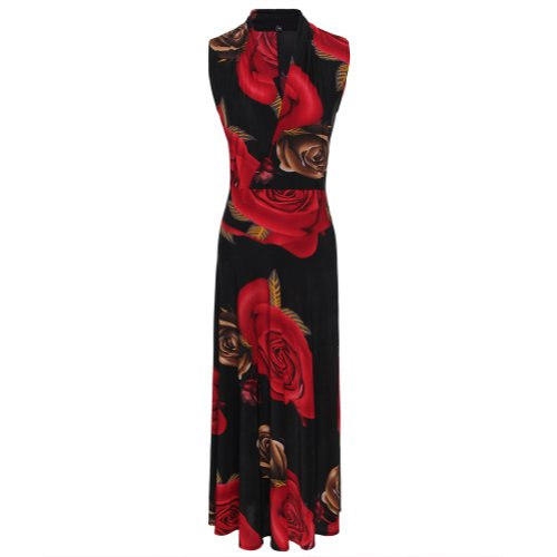 Gamiss Women's Red Rose Print Tunic V Neck Tunic Sleeveless Dress,Red,Regular Sizing 10 Picture