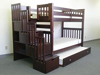 Bedz King Tall Twin over Twin Stairway Bunk Bed with Twin Trundle