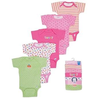 Gerber Baby-Girls Newborn 5 Pack Variety Flowers Onesie, Pink/Green, 24 Months
