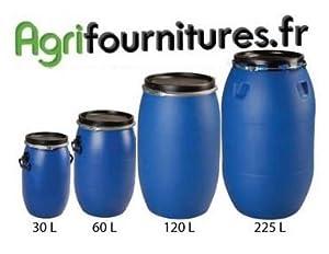 Fût plastique Alimentaire bleu 30 Litres à Ouverture Totale