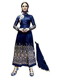 1 Stop Fashion Blue Semi Stitched Banglori Silk Anarkali Salwar Kameez