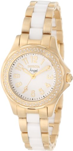 Invicta Women'S 1780 Angel White Dial 18K Gold Ion-Plated Stainless Steel Watch