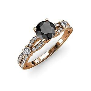 Black and White Diamond Split Shank Engagement Ring 1.45 ct tw in 14K Rose Gold.size 9