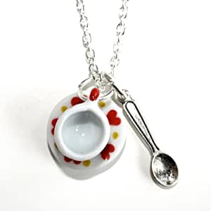 Sour Cherry Alice in Wonderland Heart Tea Cup Necklace