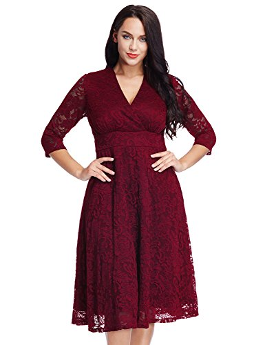Women's Plus Size Maroon Lace Mother of the Bride Bridal Formal Empire Dress 22W