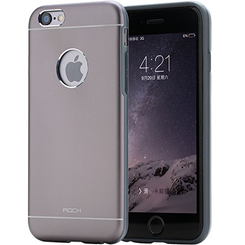 Rock Element Metal Series Aircraft Grade Aluminum Alloy TPU and PC Back Cover Case For Apple iPhone 6 - Grey