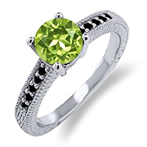 1.52 Ct Round Green Peridot Black Diamond 925 Sterling Silver Engagement Ring