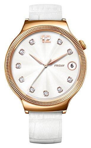 Huawei 55021135 Elegant Smartwatch mit Lederarmband, Edelstahl rosegold/weiß