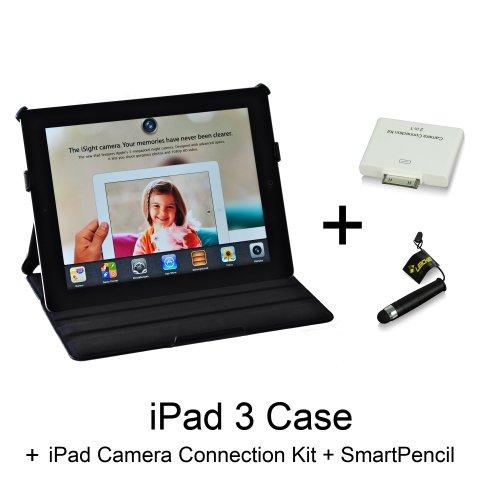 Manna -Pregiata Custodia protettiva ultra-slim per iPad3 + LEICKE Camera Connection Kit in omaggio - Custodia in vera pelle scamosciata Nera - Ottima rifinitura e alta lavorazione