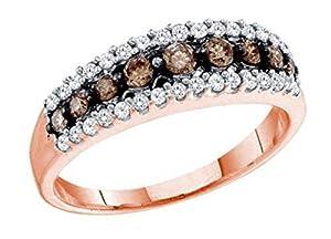 0.5 cttw 10k Rose Gold Pink Gold Cognac Brown Diamond Wedding Band Ring 6mm ((L0650) Womens Size 6.5)