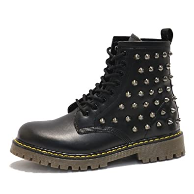 Men's Custom Shiny Black Studded Black Fashion Zip Combat Boots (7 D(M) US)
