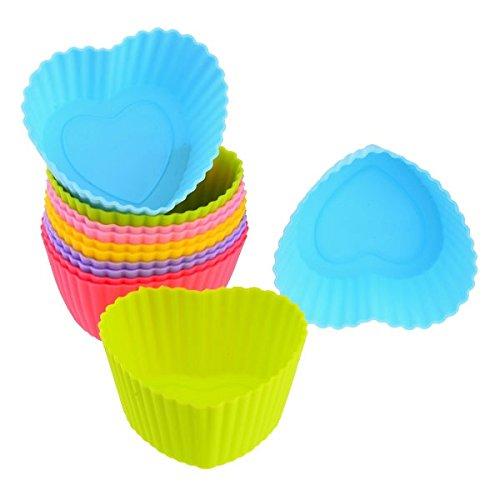 Mini Store 12Pcs Heart-Shaped Versatile Mini Silicone Molds Cupcake Maker (Assorted Color)