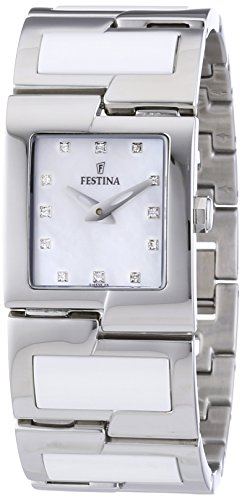Festina F16535/3 - Reloj analógico de cuarzo para mujer con correa de acero inoxidable, color multicolor