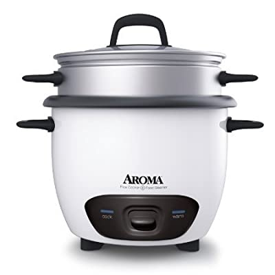 6 - Cup (Cooked) Pot Style Rice Cooker and Food Steamer in White by Aroma from Aroma