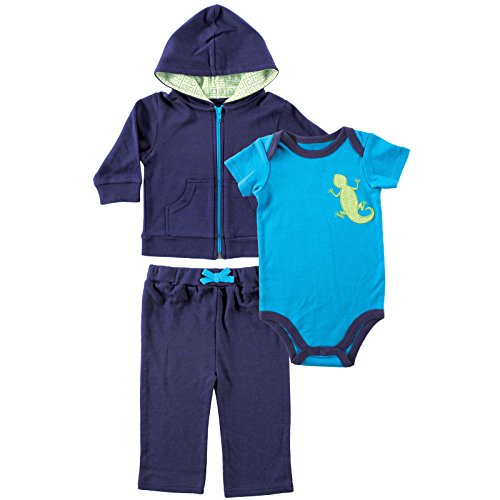 Yoga Sprout Baby-Boys Lizard Collection Hoodie Bodysuit and Pant Set, Navy/Lime, 3-6 M