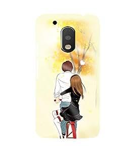 Printvisa Romantic Pair On A Bicycle Back Case Cover for Motorola Moto G4::Motorola Moto G (4th Gen)