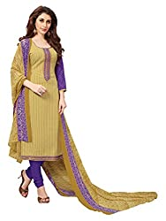 Women Icon Presents Beige Embroidered Un-Stitched Dress Material WICKFBRCZB1005