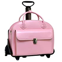 Hot Sale W Series Glen Ellyn Leather 2-in-1 Removable-Wheeled Women's Briefcase Color: Pink